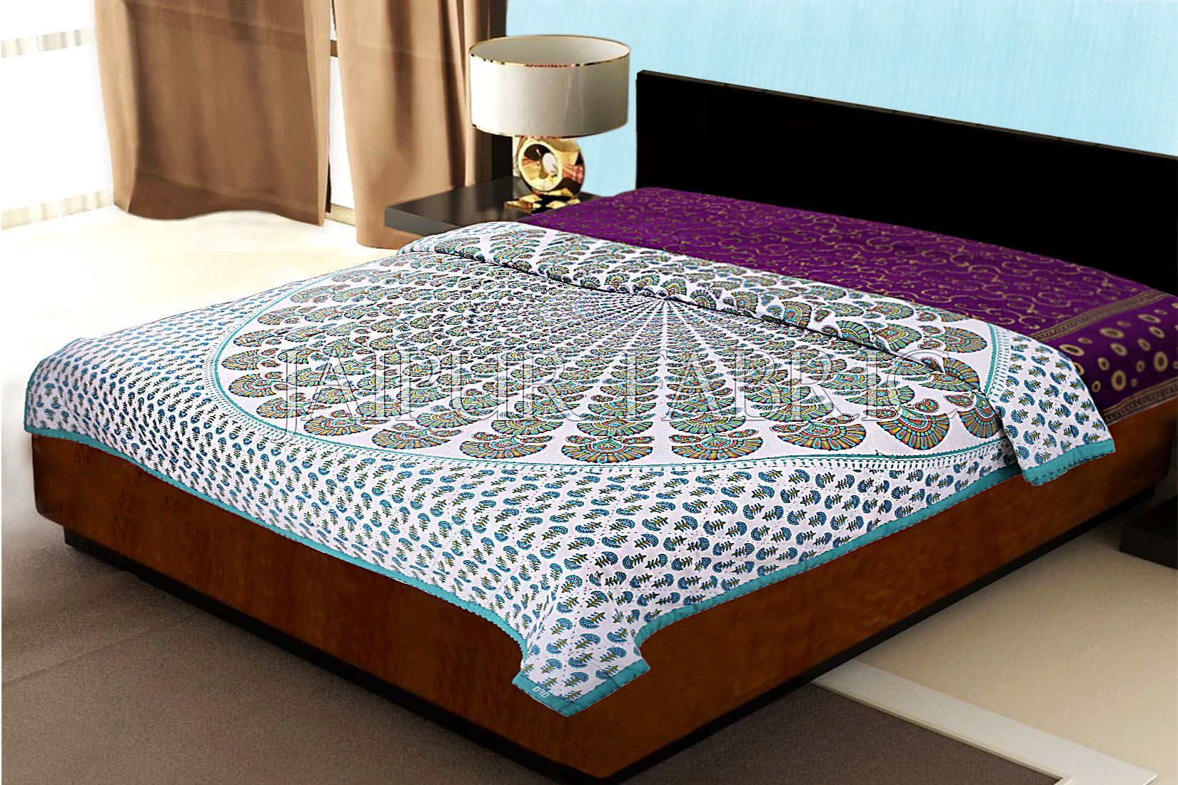 Green Keri Print Handmade Thread Work Jaipuri Cotton AC Double Bed Quilt