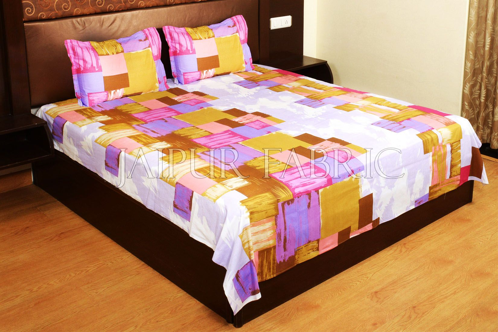 Purple and Pink Modern Design Cotton Double Bed Sheet