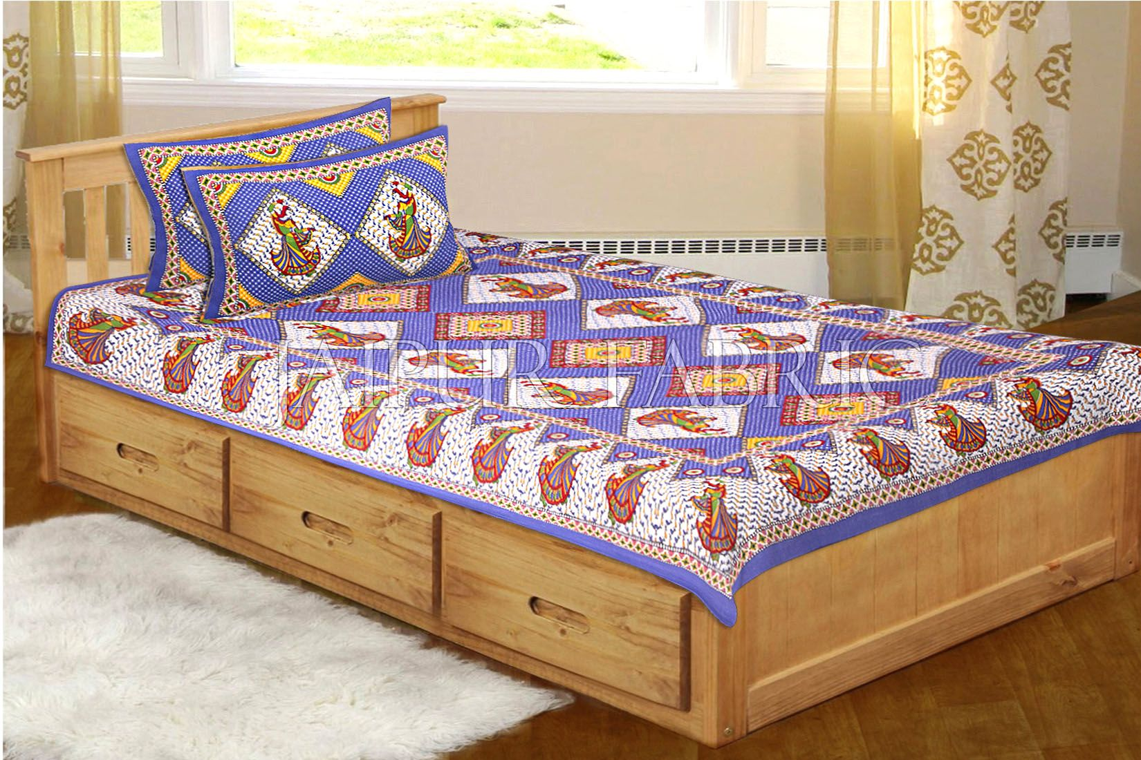 Blue base jaipur Folk dance Design Single Bed Sheet