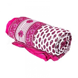 Pink Leaf Print Cotton Handmade Single Bed Jaipuri Quilt