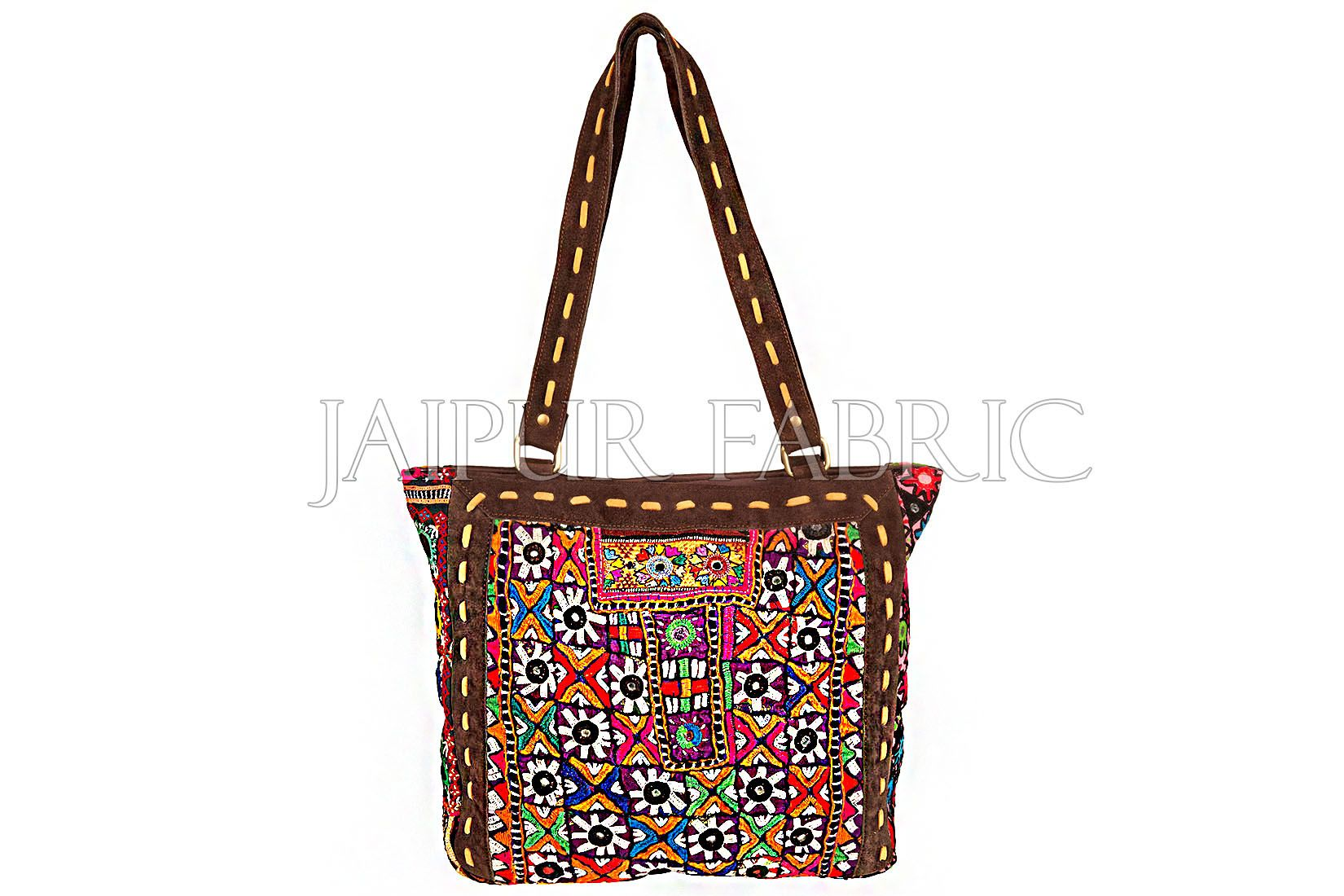 Antique Suede Leather Sikri Patchwork Hand Bag