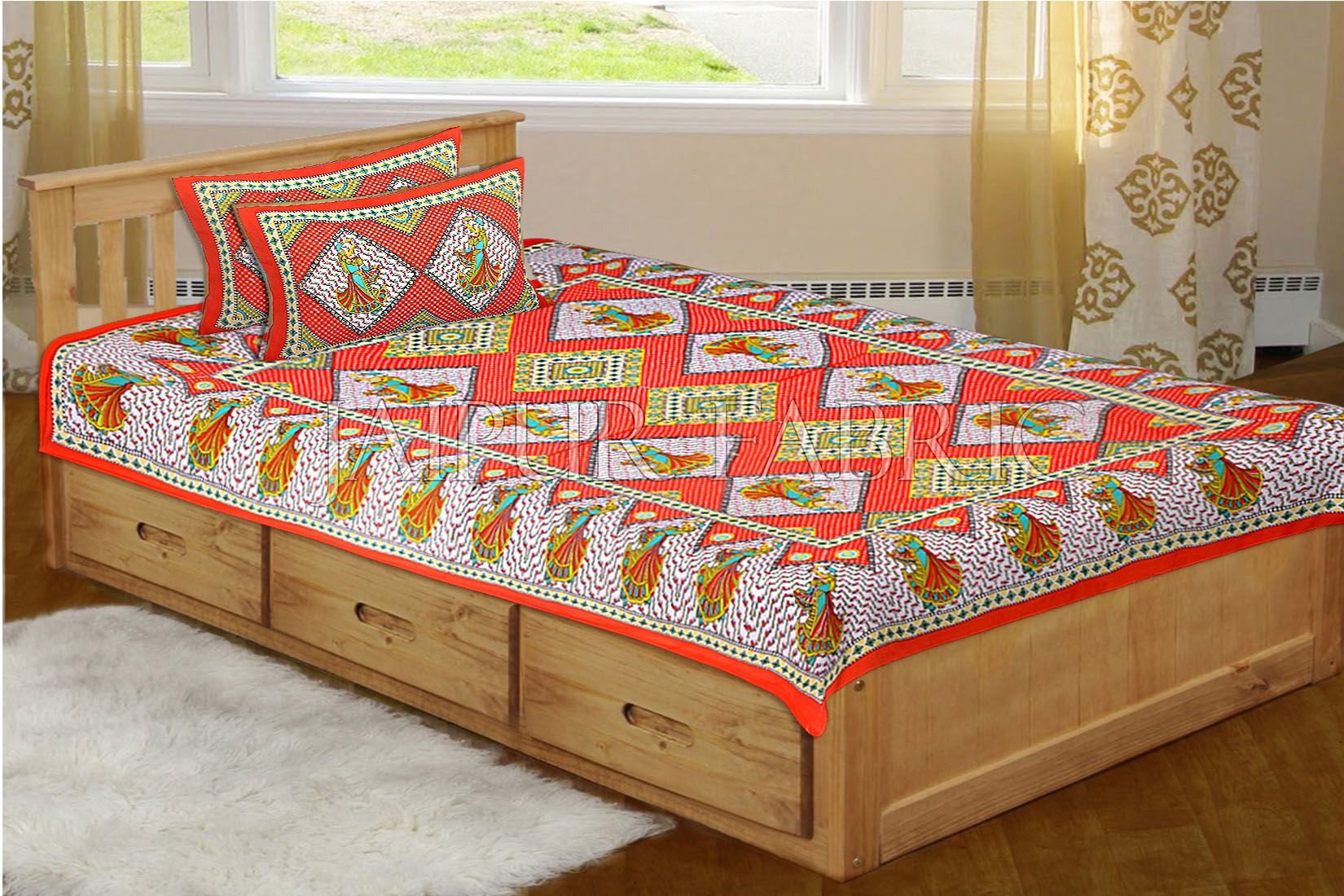 Orange base jaipur Folk dance Design Single Bed Sheet