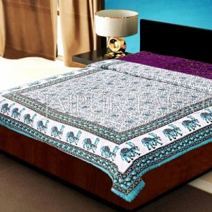 Green Rajasthani Camel Border Flower Print Cotton AC Double Bed Quilt