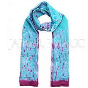 Pink and Green Handmade Bandhej Work Cotton Scarf