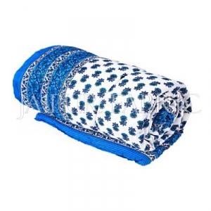 Blue Floral Print Cotton Handmade Single Bed Jaipuri Quilt