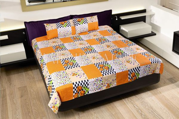 Orange Flower with Checkered Print Double Bed Sheet