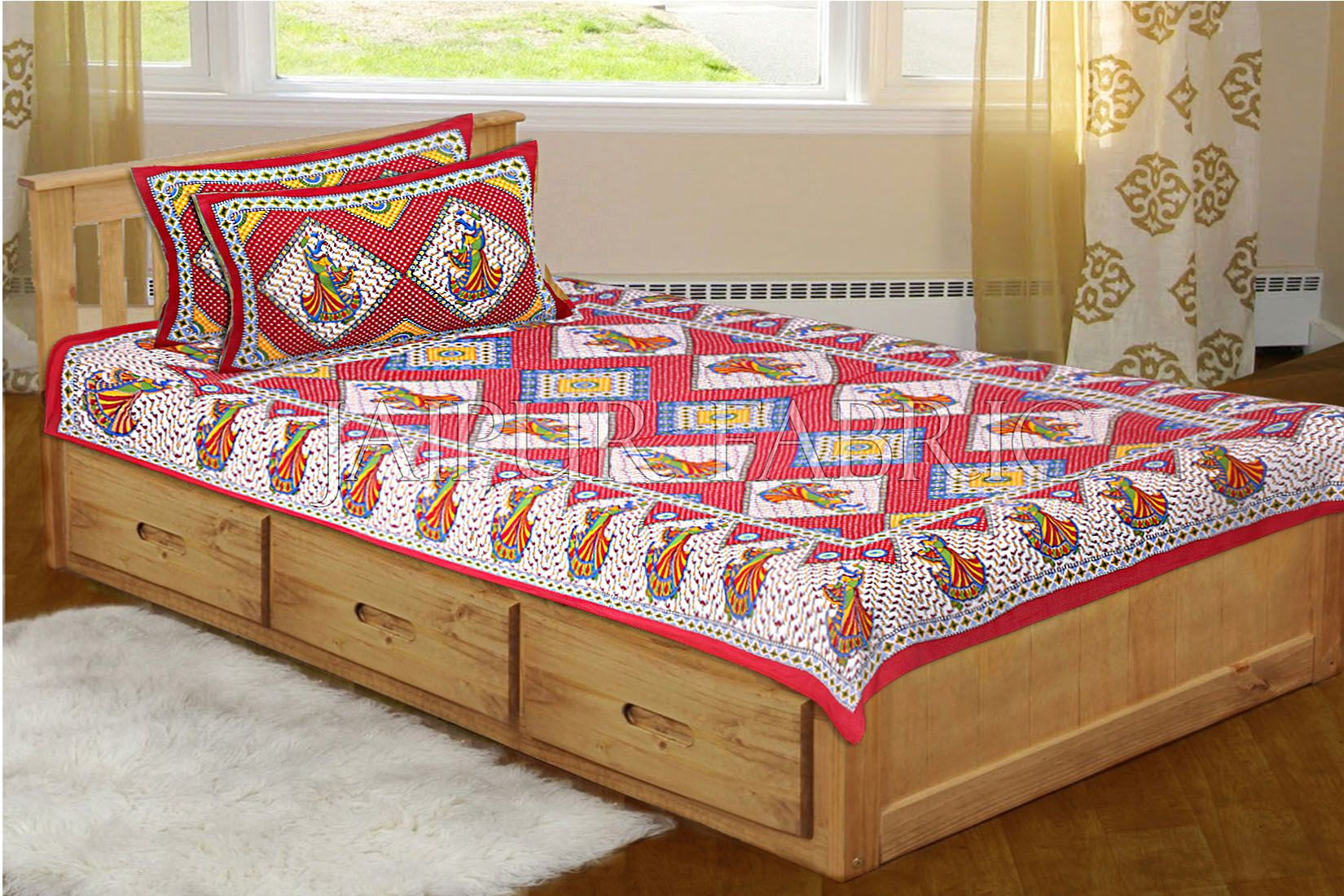 . Maroon base jaipur Folk dance Design Single Bed Sheet