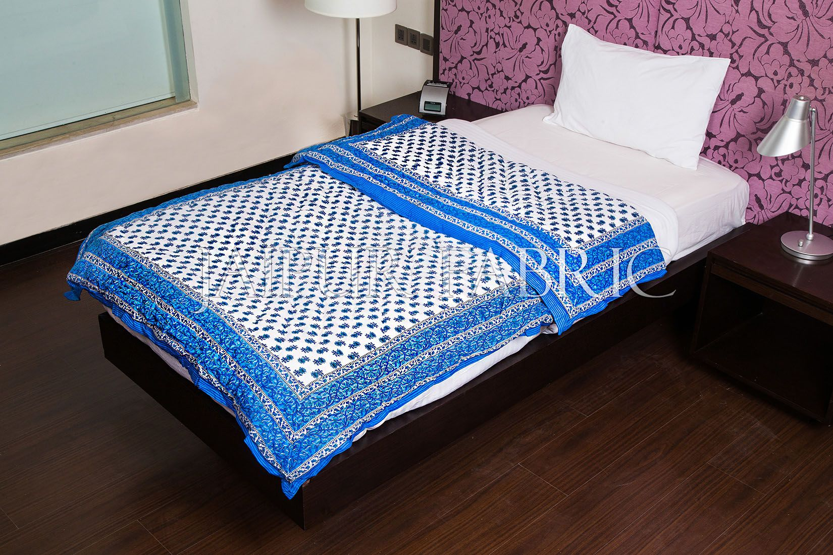 Blue Floral Print Cotton Handmade Single Bed Jaipuri Quilt