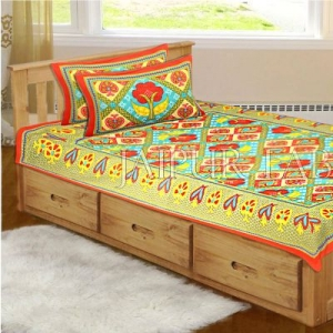 Orange Border Rajasthani Paan Patta Print Cotton Single Bed Sheet