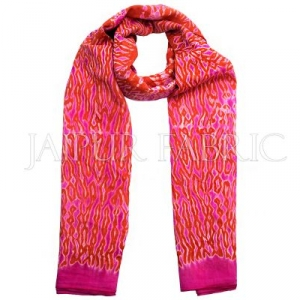 Pink and Orange Handmade Bandhej Work Cotton Scarf