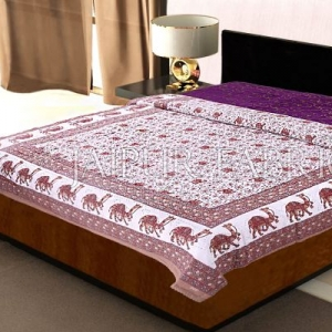 Brown Rajasthani Camel Border Flower Print Cotton AC Double Bed Quilt