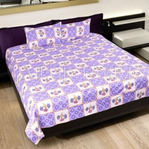 Purple Circle with Floral Print Cotton Double Bed Sheet