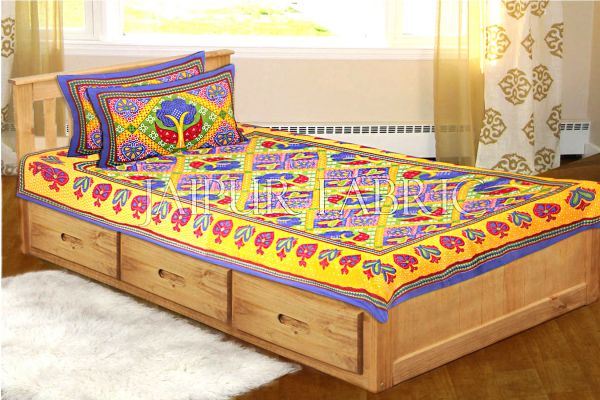 Blue Border Rajasthani Paan Patta Print Cotton Single Bed Sheet