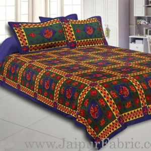 Blue Border Blue Green Base Gujri Dance In Square Pattern Cotton Double Bed Sheet