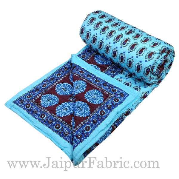 Sky Blue Border With Sky Blue Base  Coffee Color Small Paisley  Print Both Side Printed Cotton Double Quilt