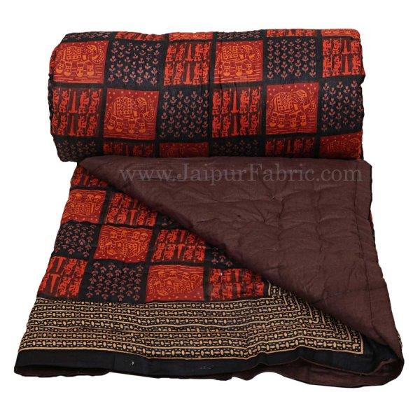 Jaipuri Razai/Quilt Elephant  Check Dabu Print Fine Cotton