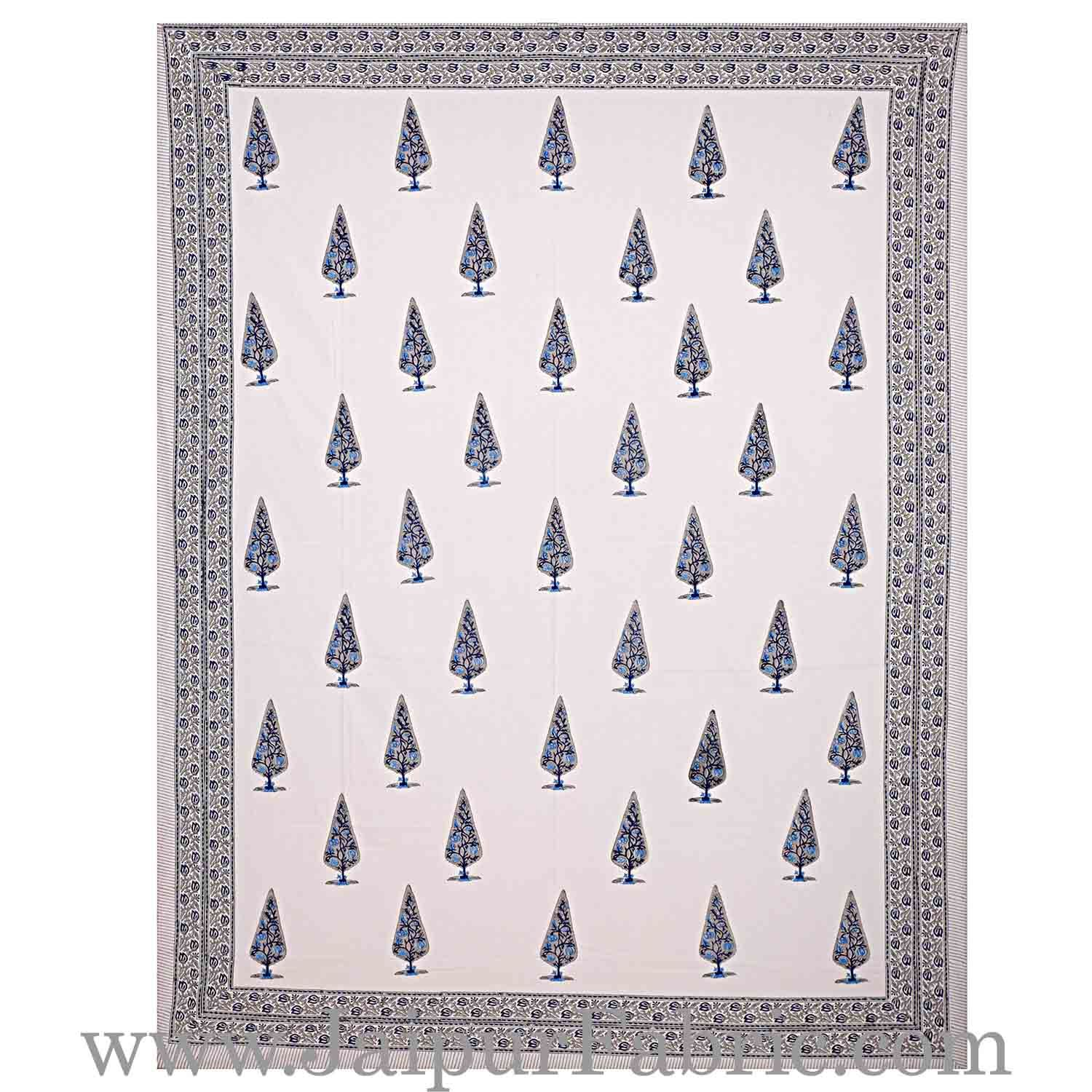 Double Bed Sheet White Base With Grey Kadi Print Multi Tree  Print Super Fine Cotton