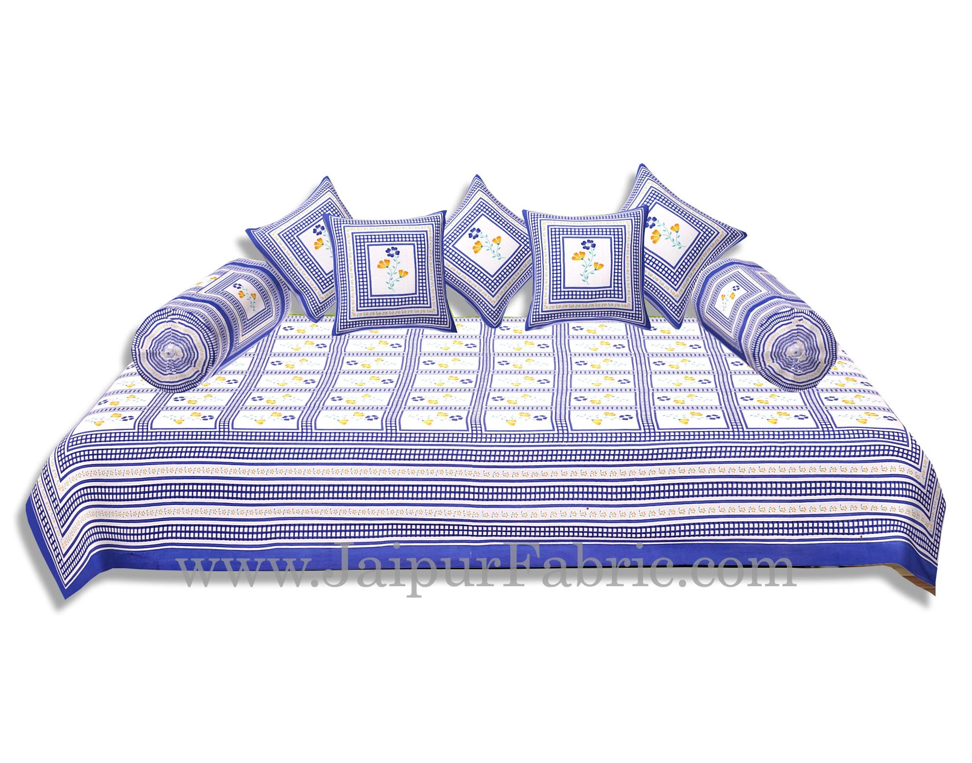 Blue Border Cream Base Floral Print In Checks Diwan Set