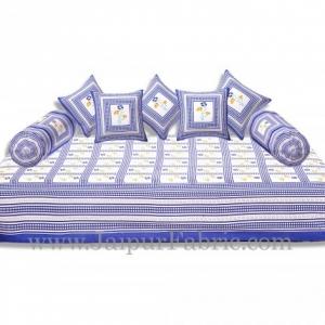 Blue Border Cream Base Floral Print In Checks Diwan Set