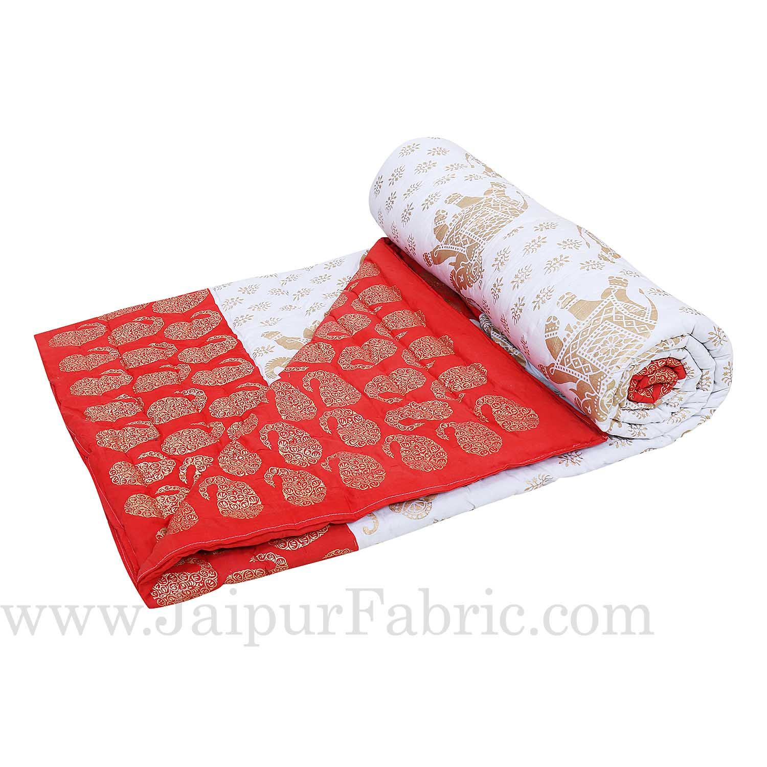 Red Border  Cream Base  With Golden Print Elephant Print Super Fine Cotton Voile(Mulmul) Both Side Printed Cotton Double Bed Quilt