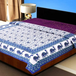 Blue Rajasthani Camel Border Flower Print Cotton AC Double Bed Quilt