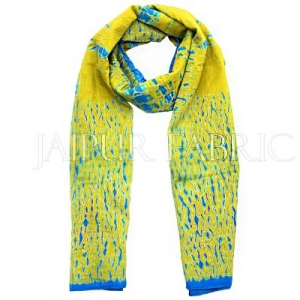 Blue and Green Handmade Bandhej Work Cotton Scarf