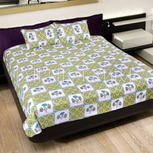 Green Circle with Floral Print Cotton Double Bed Sheet