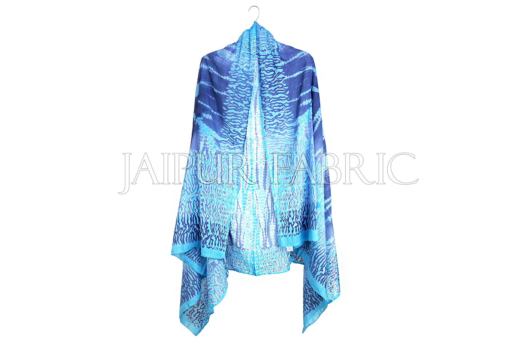 Blue Handmade Bandhej Work Cotton Scarf