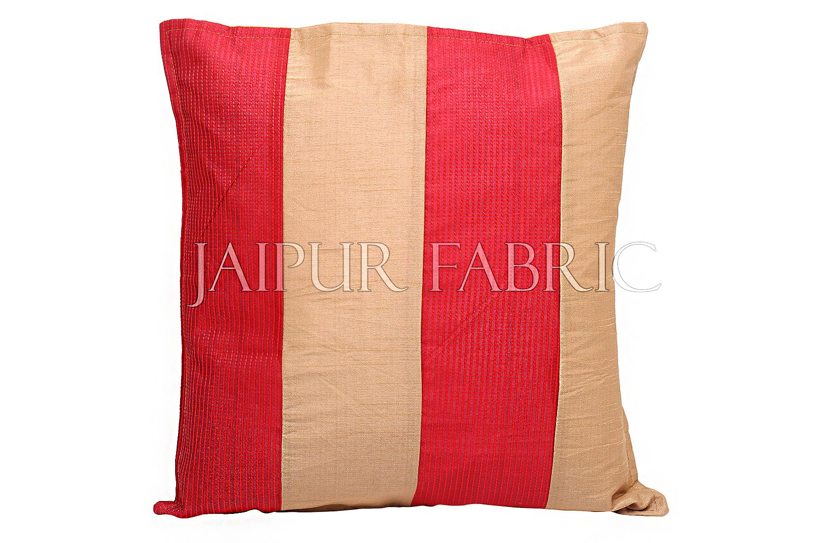 Golden and Red Thread Work Cotton Satin Silk Cushion Cover