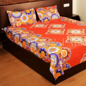 Orange Base Multi Color Rangoli Print Cotton Double Bed Sheet