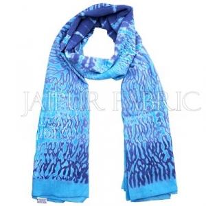 Blue Handmade Bandhej Work Cotton Scarf