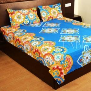 Blue Base Multi Color Rangoli Print Cotton Double Bed Sheet
