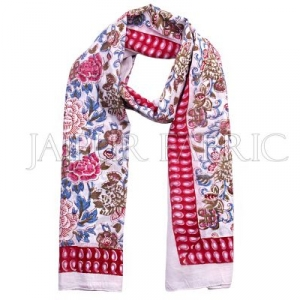 Red Border Multi Color Block Print Cotton Scarf