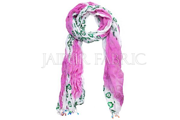 Pink and White Floral Gold Print Cotton Scarf