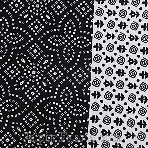 Black  Border White Base Bandhej Pattern Screen Print Cotton Double Bed Sheet