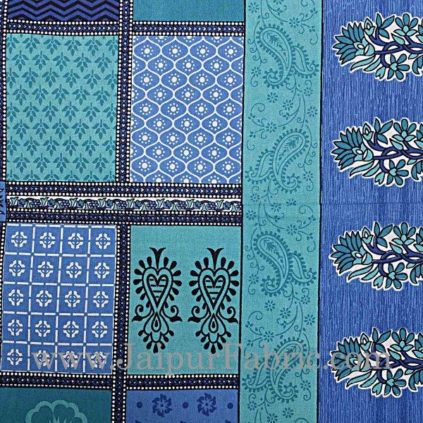 Sea Green  Border Multicolor Checkered Super fine Cotton Double Bedsheet