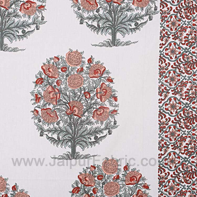 Double Bedsheet Brown Peach Floral Tree Print