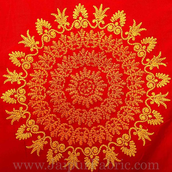 Taffeta Silk  Double Bedsheet With Heavy Embroidery Work Yellow And Red Color