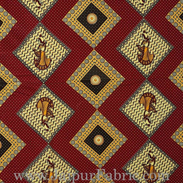 Double bedsheet Red Color Gujri Dance  Pattern Smooth Touch With 2 Pillow Cover