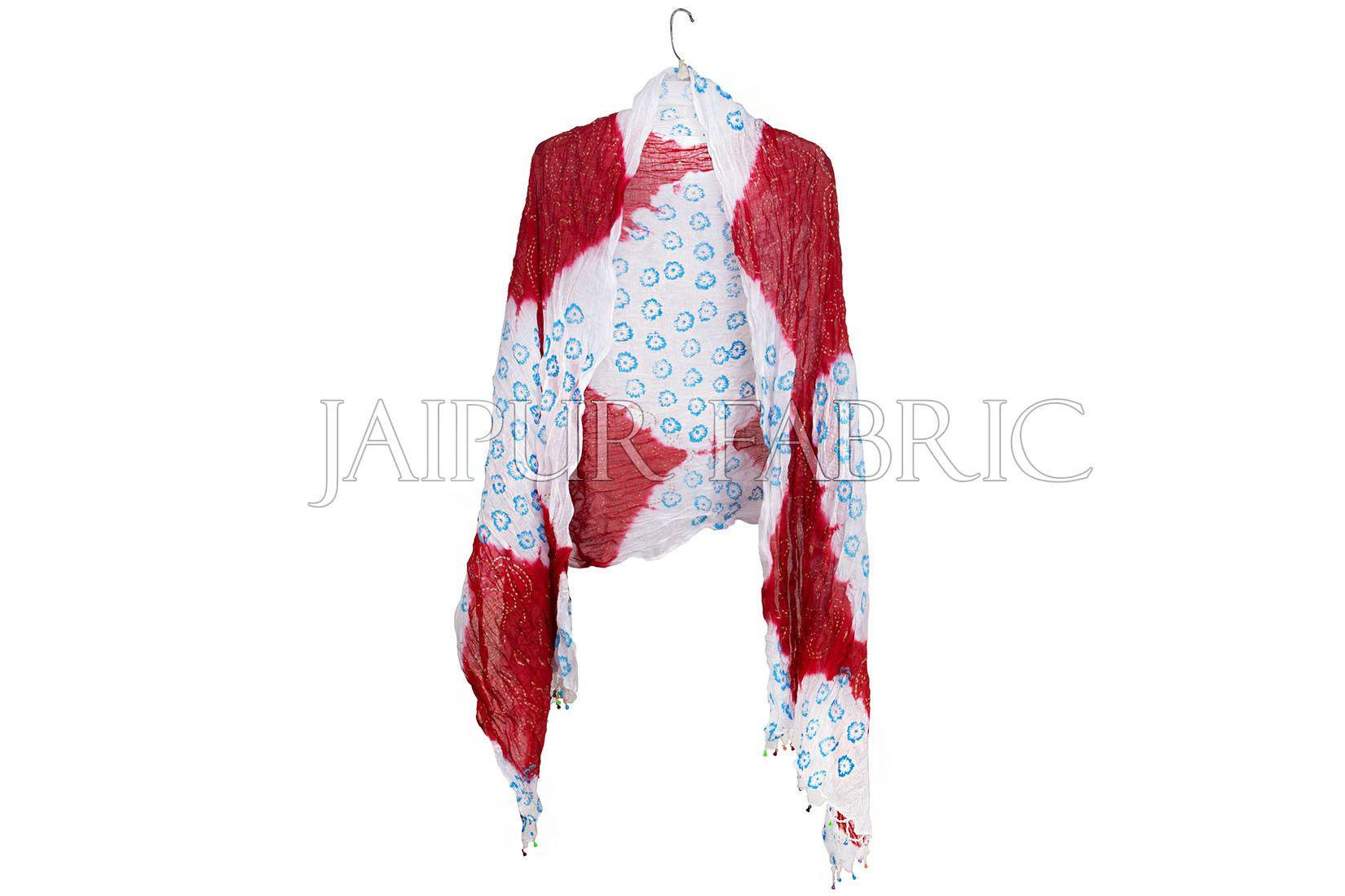 Red and White Floral Gold Print Cotton Scarf