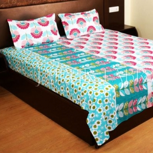 Pink and Cyan Floral Print Cotton Double Bed Sheet