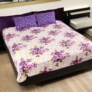 Purple Leaf Print Cotton Double Bed Sheet