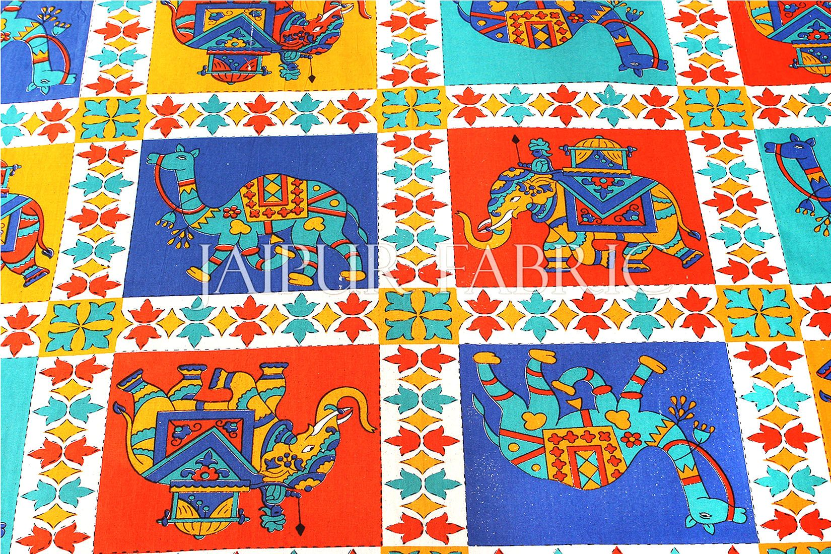 Blue Border Rajasthani Camel and Elephant block print Single Bed sheets