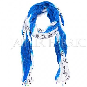 Blue and White Floral Gold Print Cotton Scarf
