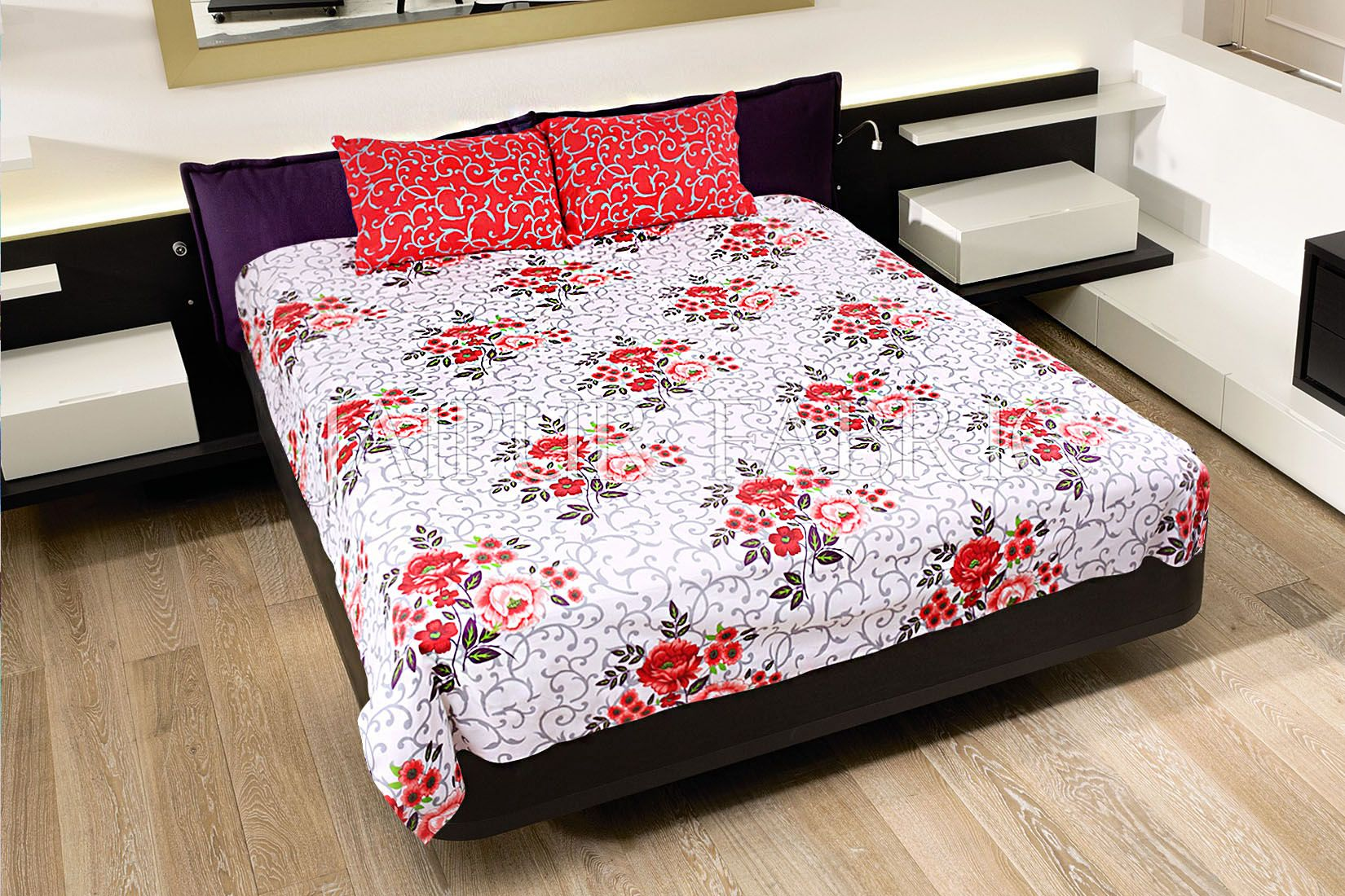 Red Leaf Print Cotton Double Bed Sheet