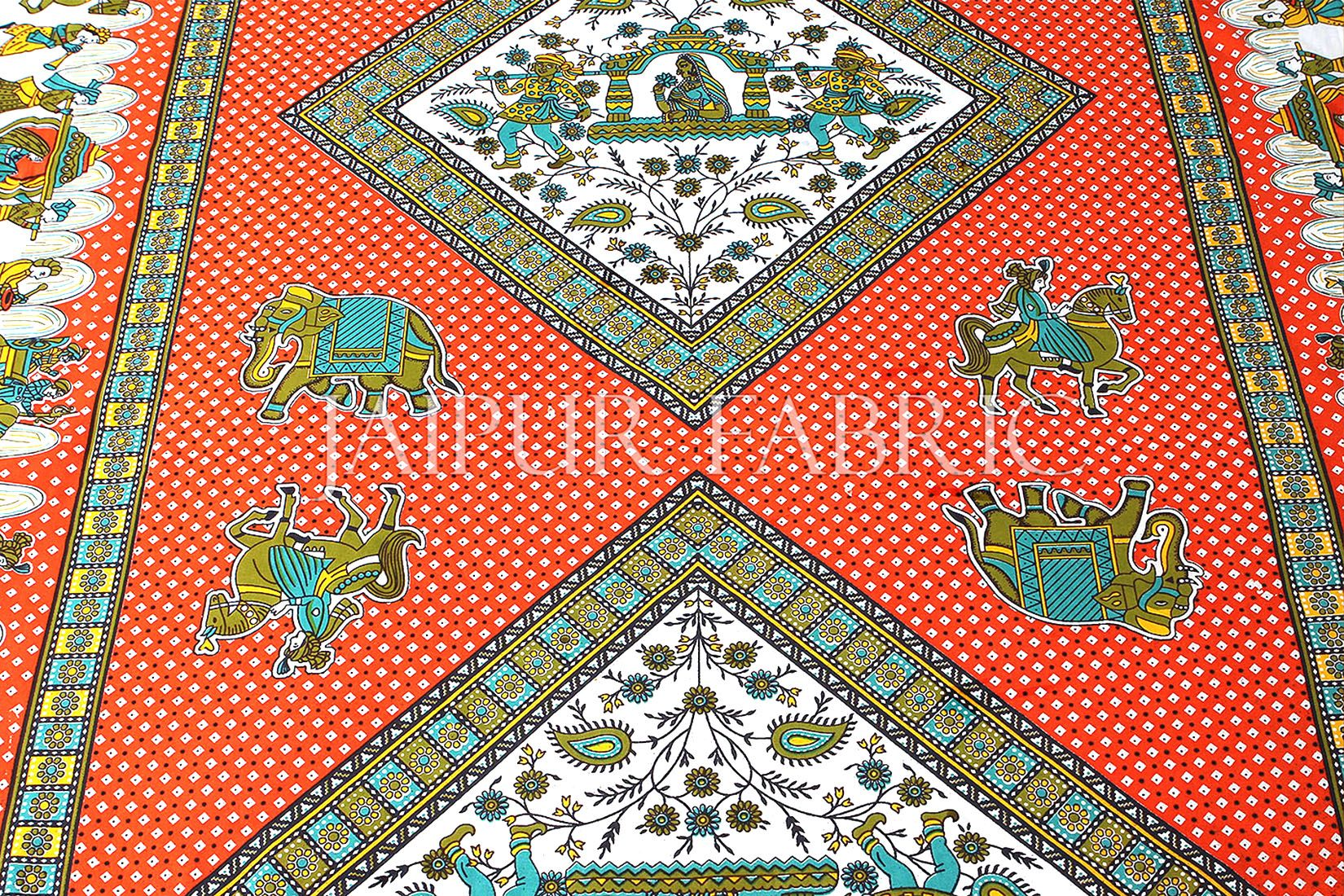 Orange Base Jaipur doli design with elephant Print Single Bedsheet