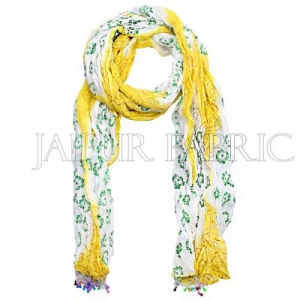 Yellow and White Floral Gold Print Cotton Scarf
