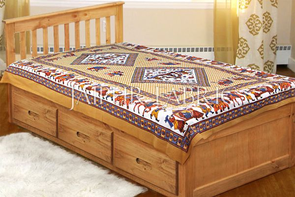Brown Base Jaipur doli design with elephant Print Single Bedsheet