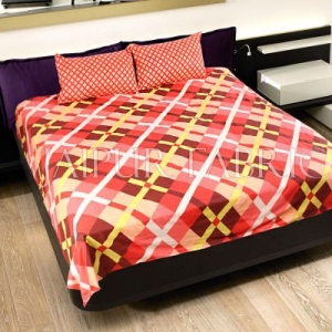 Peach Color Orange Square Print Double Bed Sheet