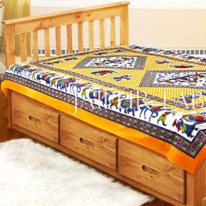 Yellow Base Jaipur doli design with elephant Print Single Bedsheet